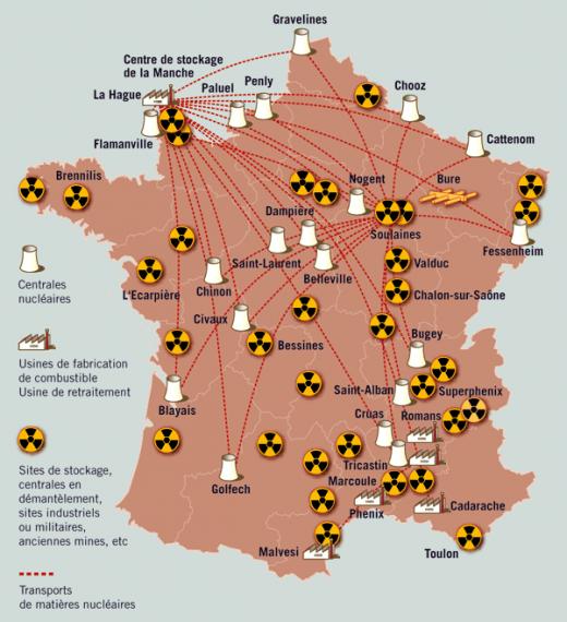 Carte de France du nucléaire