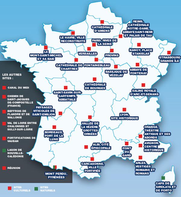 Carte de France des sites français inscrits au patrimoine mondial de l'UNESCO