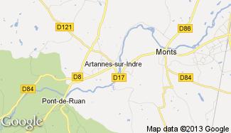 Plan de Artannes-sur-Indre