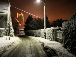Photo paysage et monuments, Chézy-en-Orxois - Rue de la Gare la nuit sous la neige