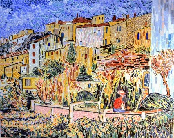 Terrasses à Cagnes-sue-Mer.Mosaïque émaux de Briare. 50 x 63 cm