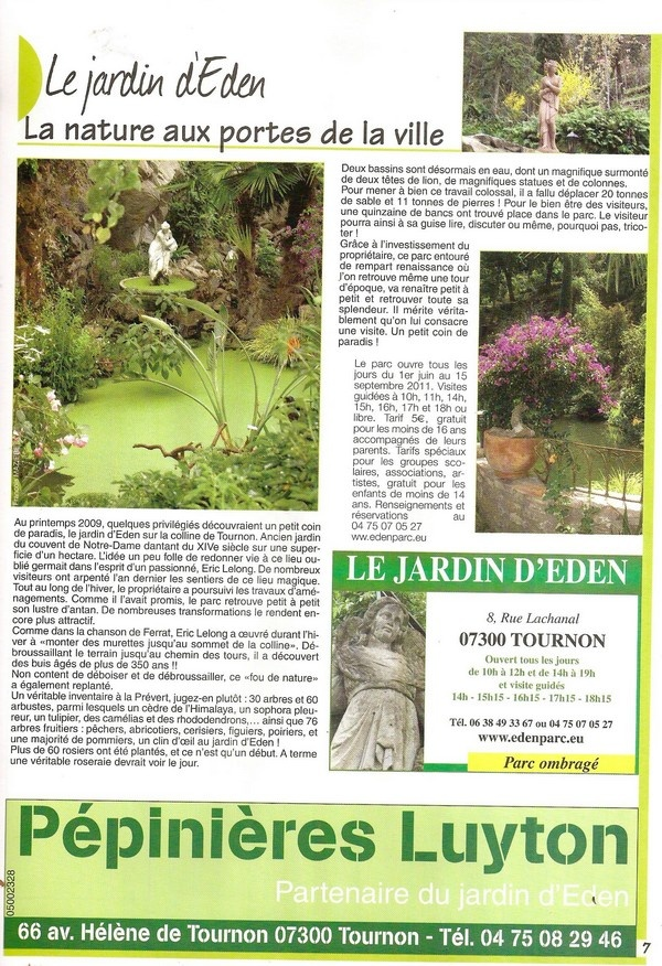 Les journées du Patrimoines au Jardin d'Eden