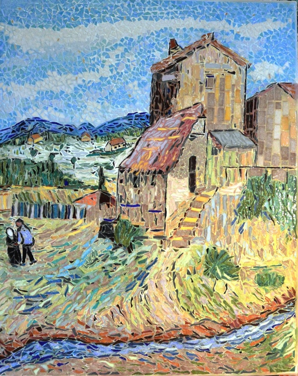 Photo Arles - ARLES; le vieux moulin, influence Vincent Van Gogh.Mosaïque émaux de Briare