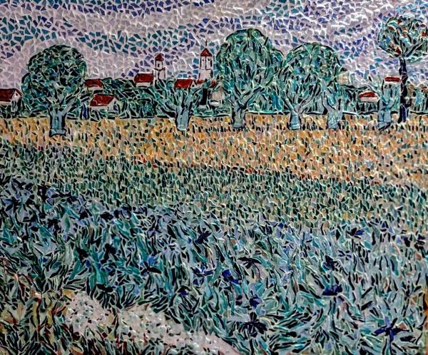 ARLES; Champ de blé avec iris, influence Vincent Van Gogh