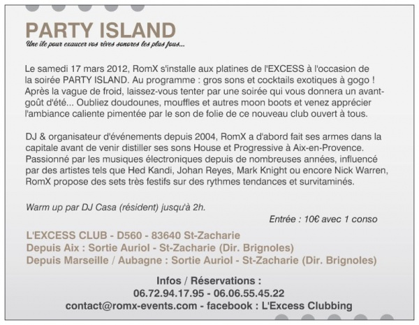 Flyer PARTY ISLAND - 17 mars 2012 @ l'EXCESS CLUB