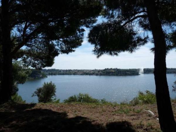 Photo Istres - L'étang de l'Olivier et son jet d'eau, le plus haut de France
