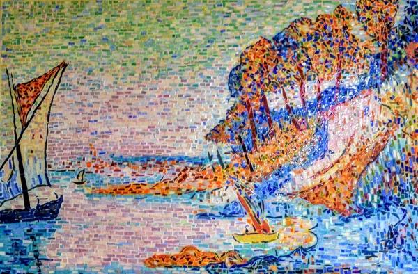 Marseille;La Calanque, influence Paul Signac. Mosaïque émaux de Briare . Août 20