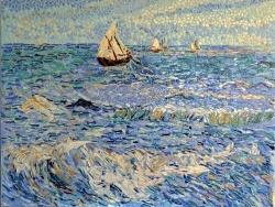 Photo dessins et illustrations, Saintes-Maries-de-la-Mer - La mer à Saintes-Maries;Influence,Vincent Van Gogh-Tableau en émaux de Briare.