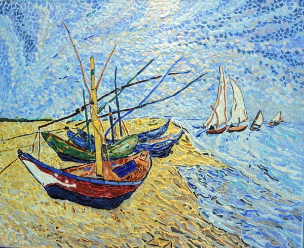 Les barques aux Saintes-Maries.influence,Vincent Van Gogh.