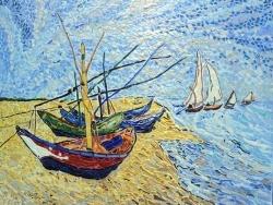 Photo dessins et illustrations, Saintes-Maries-de-la-Mer - Les barques aux Saintes-Maries.influence,Vincent Van Gogh.
