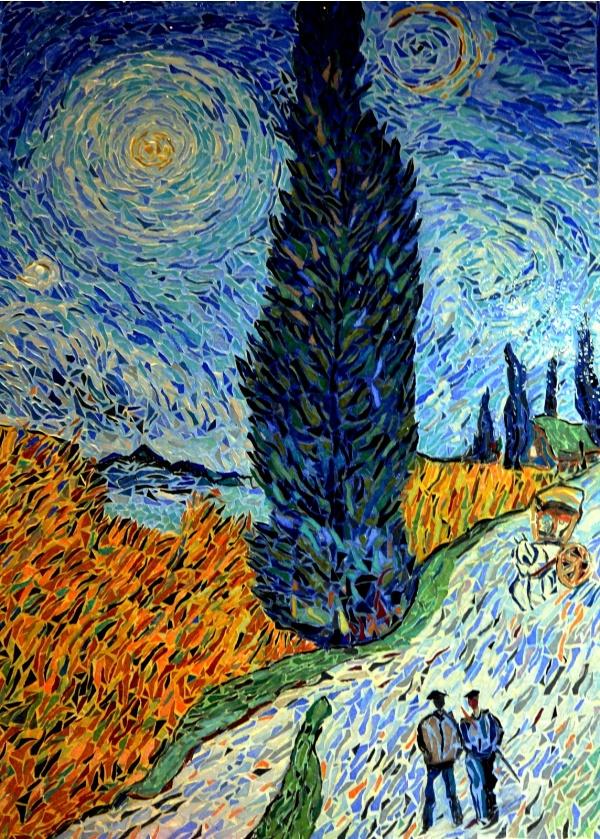Route avec cyprès et une étoile, influence; Vincent Van-Gogh.