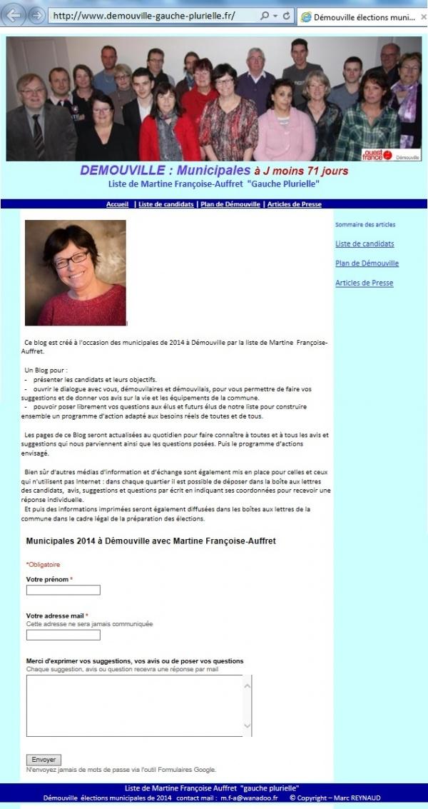 Blog de Martine FRANCOISE-AUFFRET Tête de la liste Gauche Plurielle de Démouville
