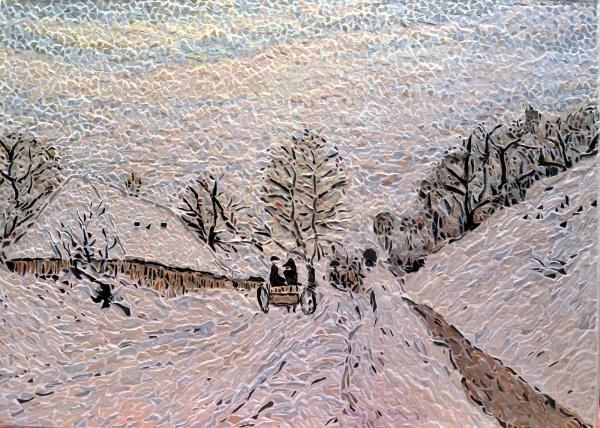 La Charrette, Influence Claude Monet.Mosaïque en émaux de Briare.
