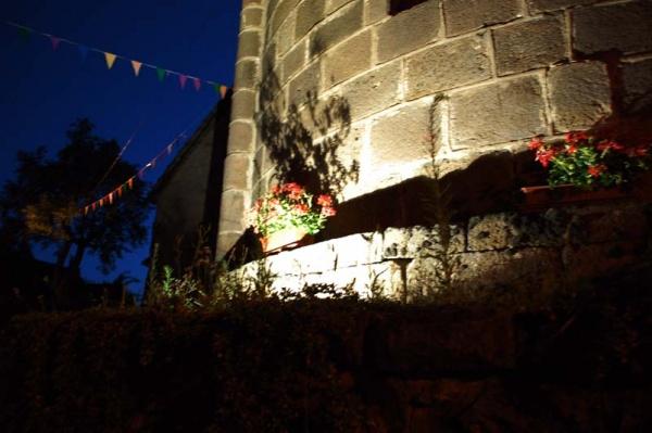 Photo Saint-Bonnet-de-Salers - Géranium au pied de l'église