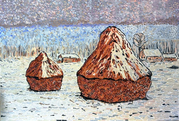 Photo Giverny - Les meules à Giverny effet de neige - Influence,Claude Monet.