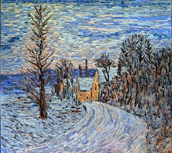 L'entrée de Giverny sous la neige. Influence Cjaude Monet.