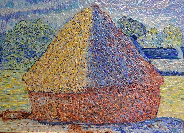 Giverny: Meule fin de l'été influence Claude Monet.mosaïque emaux de Briare.