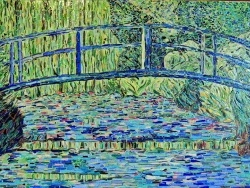 Photo dessins et illustrations, Giverny - Le pont Japonais à Giverny-Influence,Claude Monet.