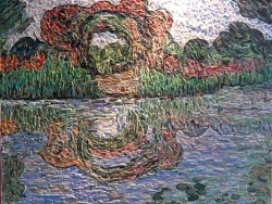 Photo dessins et illustrations, Giverny - Mosaïque;Les Arceaux de roses-Giverny-Influence,Claude Monet.