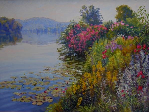 Bord de Seine à Poses- peinture à l'huile Michèle Ratel
