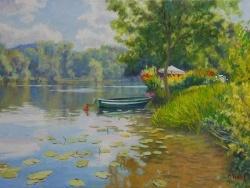 Photo dessins et illustrations, Poses - Barque en bord de Seine à Poses- peinture à l'huile Michèle Ratel