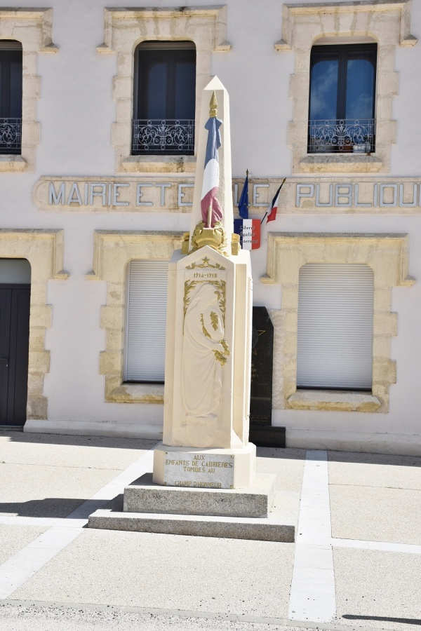 Photo Cabrières - le monument Aux Morts