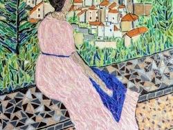 Photo dessins et illustrations, Castelnau-le-Lez - La robe rose.Influence Frédéric Bazille. mosaïque en émaux de Briare.