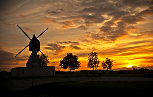 Photo Bléré - Le moulin des Aigremonts le soir en été.