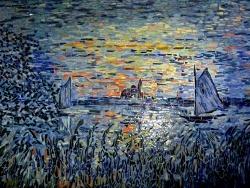 Photo dessins et illustrations, Asnans-Beauvoisin - Asnans Jura - Atelier mosaïques; Coucher de soleil sur la Seine (Monet).