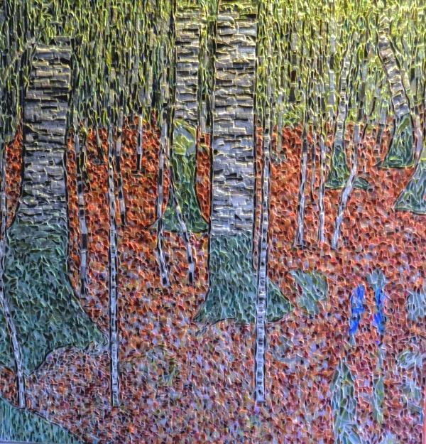 Forêt de bouleaux influence Gustav Klimt. Mosaïque en émaux de Briare. 66 x 63