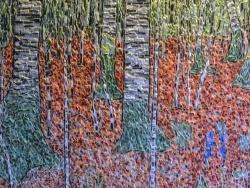 Photo dessins et illustrations, Asnans-Beauvoisin - Forêt de bouleaux influence Gustav Klimt. Mosaïque en émaux de Briare. 66 x 63