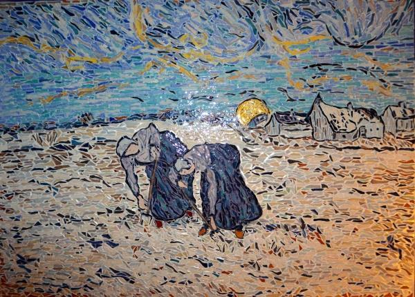 Photo Asnans-Beauvoisin - Asnans Jura. les sarcleuses influence Vincent Van Gogh.Mosaïques en émaux de Bri