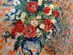 Photo dessins et illustrations, Asnans-Beauvoisin - Asnans Jura: Atelier mosaïques.Vase aux pivoines.mosaïque  émaux de briare.