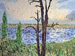 Photo paysage et monuments, Asnans-Beauvoisin - Asnans Jura. mosaïque en émaux de Briare, l'arbre foudroyé au bord du Doubs.