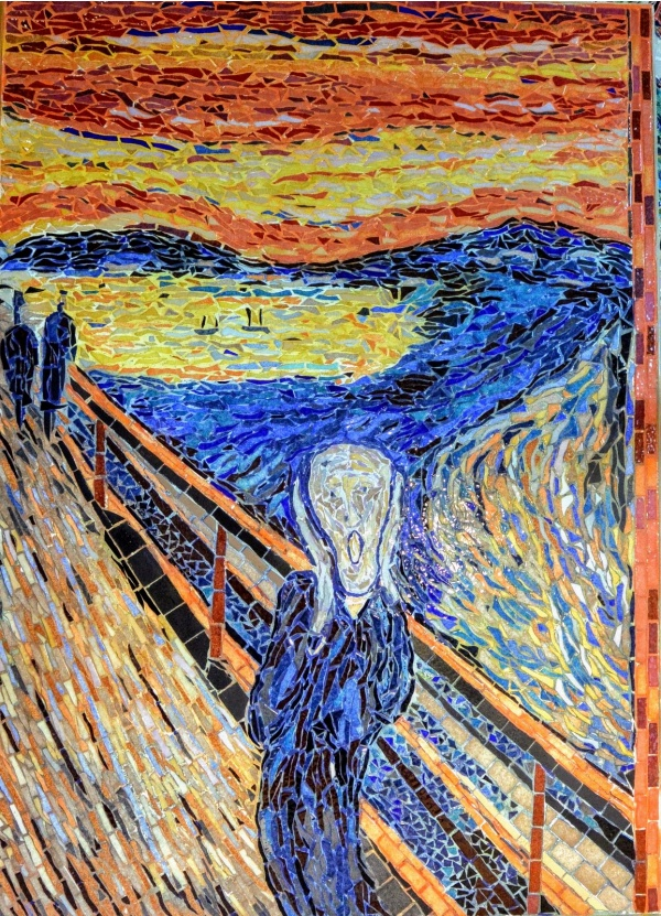 Photo Asnans-Beauvoisin - Asnans Jura. Atelier mosaïques. Le cri, influence Edvard Munch.