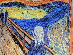 Photo dessins et illustrations, Asnans-Beauvoisin - Asnans Jura. Atelier mosaïques. Le cri, influence Edvard Munch.