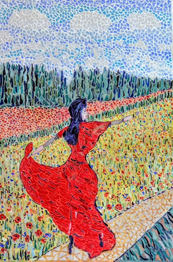 Asnans Jura. Atelier mosaïques; fille en rouge et coquelicots.