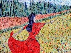 Photo dessins et illustrations, Asnans-Beauvoisin - Asnans Jura. Atelier mosaïques; fille en rouge et coquelicots.