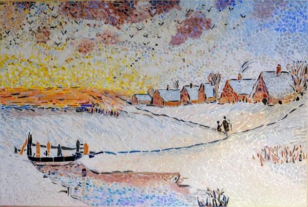 Asnans Jura,Atelier mosaïques,aube en hiver influence Alexeï Savrasov.