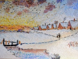 Photo dessins et illustrations, Asnans-Beauvoisin - Asnans Jura,Atelier mosaïques,aube en hiver influence Alexeï Savrasov.