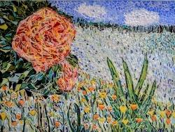 Photo dessins et illustrations, Asnans-Beauvoisin - Asnans jura atelier mosaiques. La rose Camille Pissarro en émaux de Briare