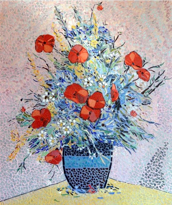 Asnans jura atelier mosaiques.  fleurs d'été