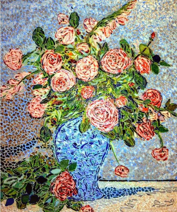 Photo Asnans-Beauvoisin - Asnans jura ; atelier mosaiques.  Vase de roses.