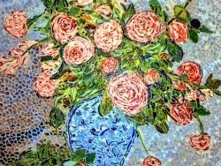 Photo dessins et illustrations, Asnans-Beauvoisin - Asnans jura ; atelier mosaiques.  Vase de roses.