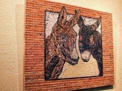 Photo dessins et illustrations, Asnans-Beauvoisin - Asnans jura atelier mosaiques.   les deux ânes.