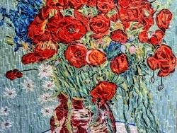 Photo dessins et illustrations, Asnans-Beauvoisin - Asnans jura atelier mosaiques.  Vase de coquelicots