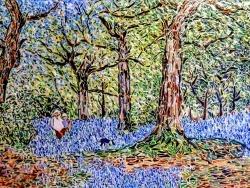 Photo dessins et illustrations, Asnans-Beauvoisin - Asnans jura atelier mosaïques. Blue Bells foret ( Benjamin Williams Leader ).