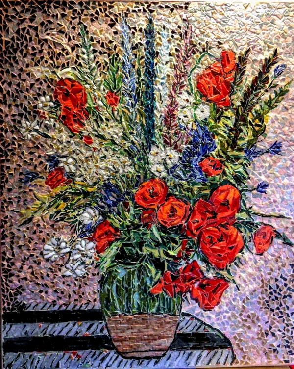Asnans Jura, fleurs d'été, mosaïque émaux de Briare. 50 x 60 cm.