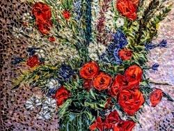 Photo dessins et illustrations, Asnans-Beauvoisin - Asnans Jura, fleurs d'été, mosaïque émaux de Briare. 50 x 60 cm.