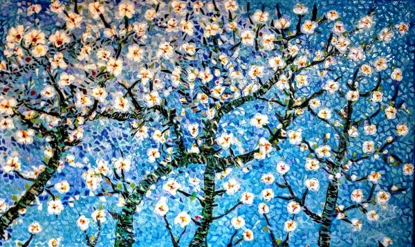 Asnans Jura, le printemps, mosaïque émaux de Briare, 60 x36 cm.